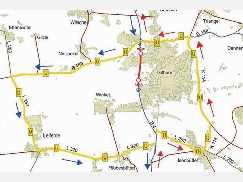 Die Umleitung: Der Verkehr von Süden (rote Pfeile) fährt über Isenbüttel, der von Norden (blaue Pfeile) geht über Leiferde.