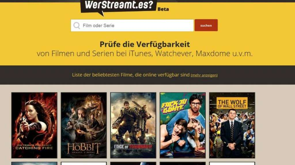 Einfach den Film eingeben und schon erfährt man auf WerStreamt.es, welcher Video-Streamingdienst ihn im Angebot hat. Foto: WerStreamt.es