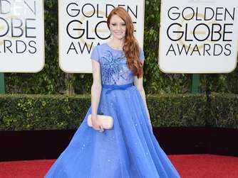 Model Barbara Meier in großer Robe bei den Golden Globes. Foto: Paul Buck