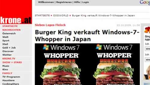 2500 Kalorien: Windows 7-Whopper bei Burger King