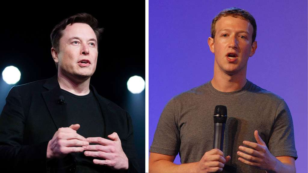 Collage: Elon Musk gestikuliert neben Mark Zuckerberg am Mikrofon